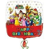 Amscan–3200901Super Mario Bros Happy Birthday Palloncini Foil