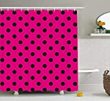 Hot Pink Polka Dot Shower Curtain Rdsfhsp Hot Pink Shower Curtain by, Pop Art Inspired Design Retro Pattern of Black Polka Dots Classical Spotted, Fabric Bathroom Decor Set with Hooks, Hot Pink Black