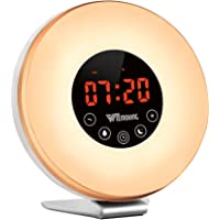 WitMoving Alarm Clock, Wake Up Light Bedside Sunrise Simulator with Brightness Automatic Adjustment, Nature Sounds,FM Radio,Night Light,Easy Set Up via Touch Control,Powered by Battery or USB Charger
