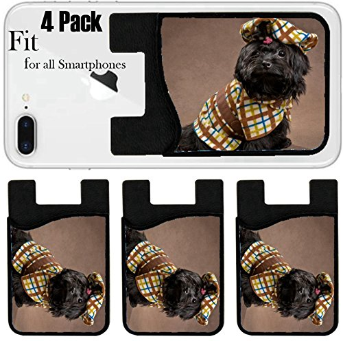Liili Phone Card holder sleeve/wallet for iPhone Samsung Android and all smartphones with removable microfiber screen cleaner Silicone card Caddy(4 Pack) Russian color lap dog in studio in the dress
