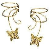 Butterfly Short Wave Ear Cuff Pair NON-Pierced Wrap on Earring Gold on Silver