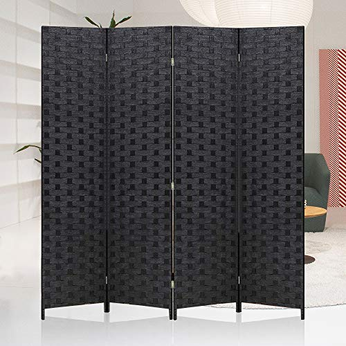 Meet Perfect Room Divider Privacy Screen,6 FT Wooden Woven 4-Panel Folding Screen,Foldable Panel Mesh Partition Wall Divider, Freestanding Room Dividers Double-Weaved with Two-Way Hinges- Black
