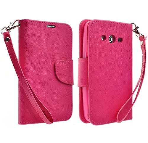 Samsung Galaxy Grand Prime LTE G530 Case, Samsung Galaxy Go Prime Case, Magnetic Wallet Pouch with Built In Kickstand For Samsung Galaxy Grand Prime LTE / Galaxy Go Prime, Hot Pink Wallet