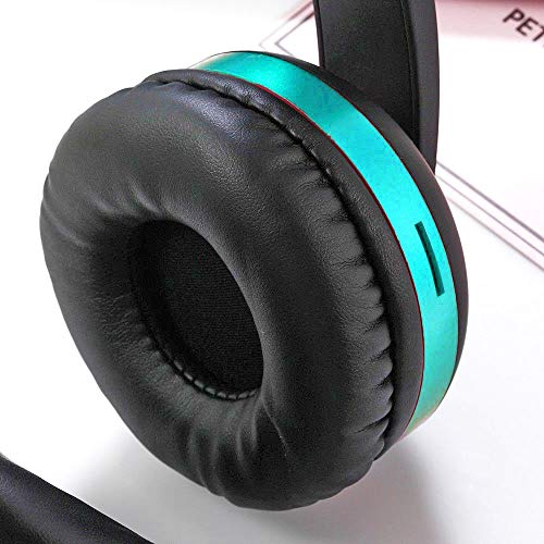 Wireless Headset with Mic,Foldable Bluetooth Headphone with 3.5mm Audio Jack for PC/iPhone/Android Smartphones Computers(Black+Blue) by YSSHUI (Image #3)