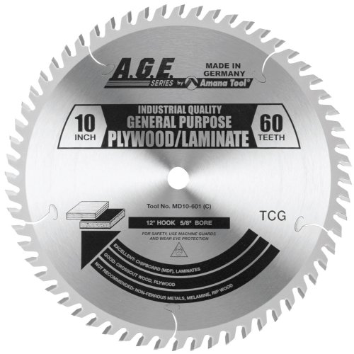 A.G.E. Series MD10-601 Plywood/Laminate 10-Inch Diameter by 60-Teeth by 5/8-Inch Bore, Triple Chip Grind Carbide Tipped Saw Blade ()