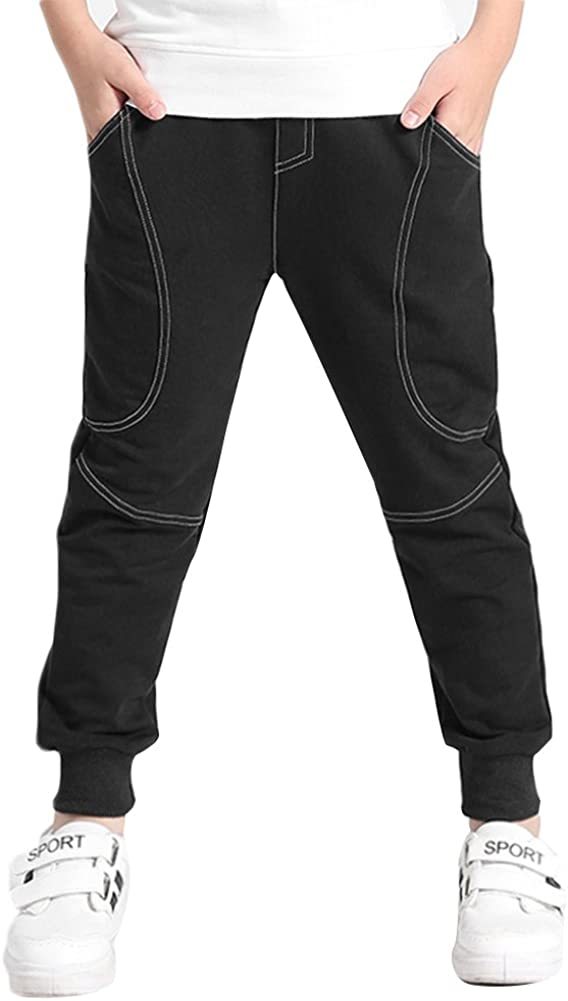 KISBINI Big Boys Cotton Sport Pant Athletic Sweatpant Trousers for Kids Children