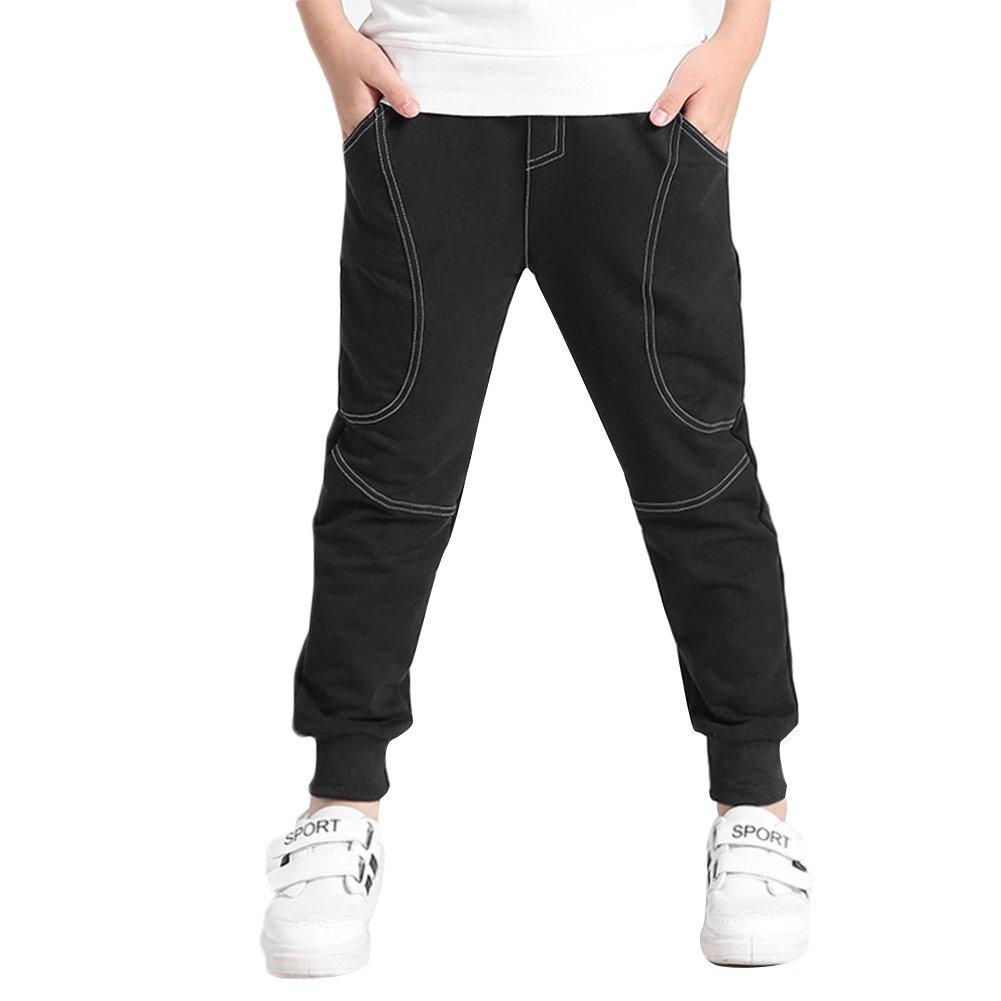 KISBINI Big Boys Cotton Sports Pant Trousers for Kids Children Black 9T