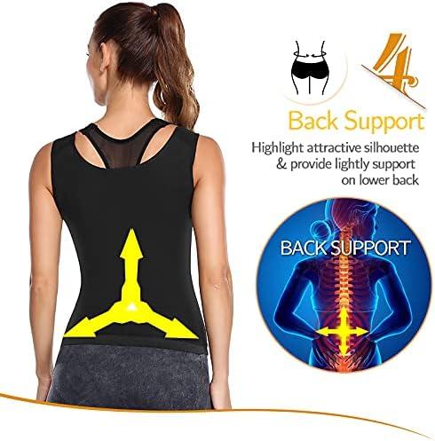POP CLOSETS Womens Premium Workout Tank Top Slimming Polymer Sauna Vest Sweat Compression Shirts