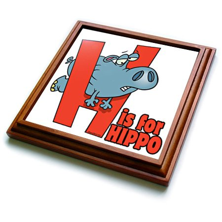 """3dRose trv_104182_1 H is for Hippo Funny Alphabet Cartoon Trivet with Ceramic Tile, 8 by 8"""", Brown"""