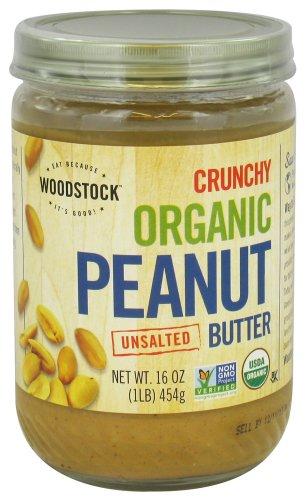 Woodstock Organic Peanut Butter Crunchy Unsalted, 16 Ounce