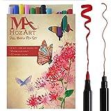 Set de stylos pinceaux à deux pointes– 12 couleurs – qualité supérieure, créez des effets aquarelle – parfait pour cahiers de coloriage adulte, bullet journal , calligraphie– MozArt Supplies