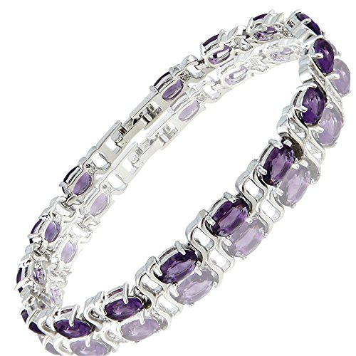 RIZILIA Tennis Bracelet & Oval Cut CZ [Simulated Purple Amethyst] in White Gold Plated, ()
