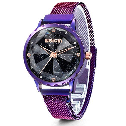 (Fashion Women's Watch,Purple Ladies Watches,Starry Sky Watch Gift,Mesh Band Womens Bangle Cuff Wrist Watch)