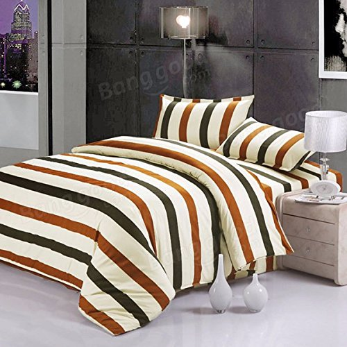 Chevron Bedclothes Put - 4pcs Stripe Dot Cotton Blend Paint Printing Bedding Set Twin Size - Hard Placed Settled Solidifying Primed Unmoving Banding Clothing Dictated Nonmoving