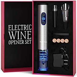 Electric Wine Opener Set with Charger and Batteries- Holiday Gift Set - Birthday Wedding Anniversary Holiday Kit with Batteries and Foil Cutter Uncle Viner G105