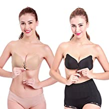 2 PCS Womens Reusable Adhesive Push-up Bra Strapless Silicone Bras Invisible Pad