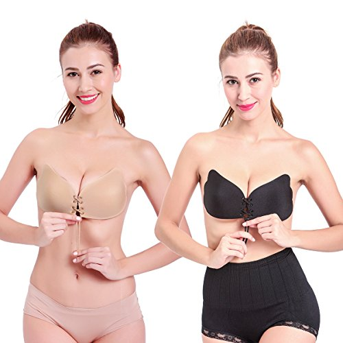 Colleer 2 PCS Womens Ladies Seamless Adhesive Push-up Bra Reusable Strapless Magic Self Stick On Gel Bras Backless Silicone Invisible Bra Pad by (C, Black + Nude)
