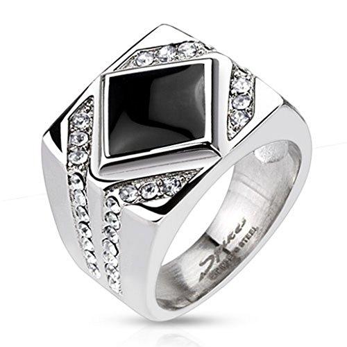 Bague diamond pierre onyx en acier inoxydable 316L