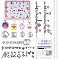 HIRALIY Jewelry Making Supplies Kit with 8 Pcs Glass Pendant Necklaces 2 Pcs Chain Bracelets,Instructions and Craft Accessories