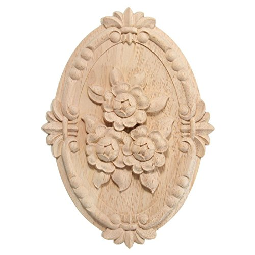 Enerhu 1 Piece Wooden Carved Onlay Applique Oval Carving Decal Unpainted Furniture Decor 8.27by5.91inch