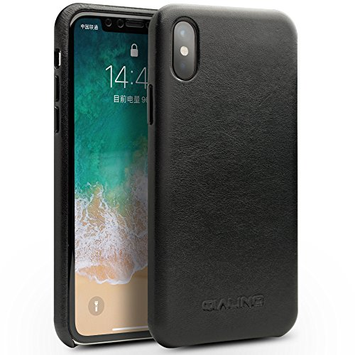(QIALINO Genuine Kangaroo Leather iPhone X Case, Superior Protective Back Cover for Apple iPhone X, Black)