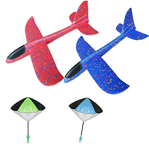 Glider Plane for Kids, 15 Inch Foam Glider with Parachutes - Throwing Flying Foam Airplane Kit (Double Hole Tail)