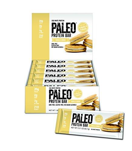 Paleo Protein Bar (Vanilla Cookie) 12 Bars (20g Egg White Protein 7 Net Carbs w/Probiotics)