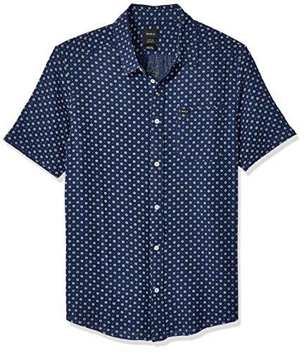 (RVCA Men's Gauze DOT Short Sleeve Woven Button Front Shirt, Federal Blue, L)
