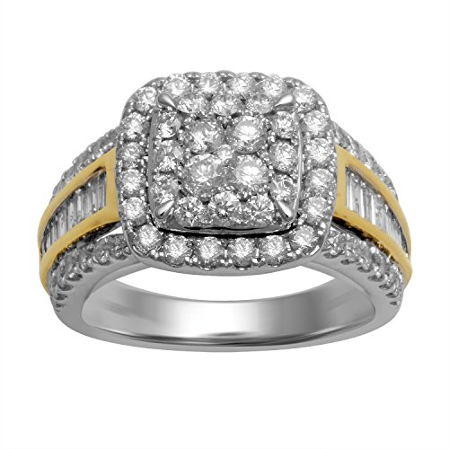 Jewelili 10kt Two Tone 2 cttw Round Diamond and Baguette Bridal Ring, Size 7 (Baguette Tone Diamond Two)