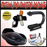 Opteka PRO Filmer ''Skaters'' Package (Includes the Opteka ''Baby Death'' 0.3X HD Fisheye Lens, Opteka VL-800 Pro LED Video Light Kit & Opteka X-GRIP Camcorder Handle) for 25mm, 30mm, 30.5mm, & 37mm Camcorders