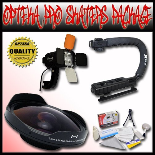 Opteka PRO Filmer ''Skaters'' Package (Includes the Opteka ''Baby Death'' 0.3X HD Fisheye Lens, Opteka VL-800 Pro LED Video Light Kit & Opteka X-GRIP Camcorder Handle) for 25mm, 30mm, 30.5mm, & 37mm Camcorders by Opteka