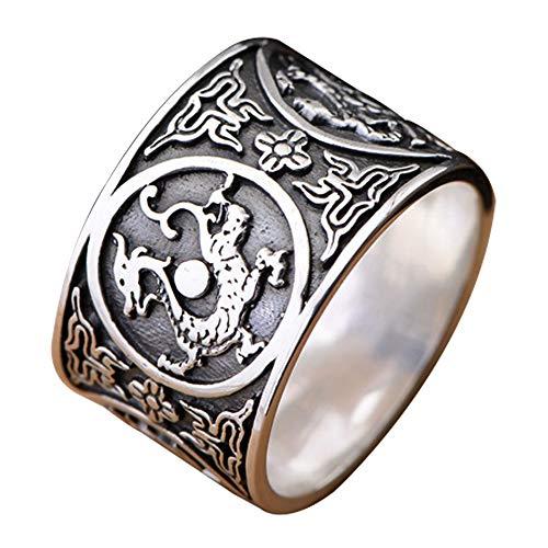 Black Wide 999 Sterling Silver Band Ring Dragon & Tiger & Vermilion Bird & Tortoise for Men Women 14 mm Size 10