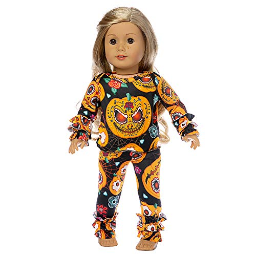 Ecore Fun 18 Inch Doll Halloween Clothes Pajamas Casual Outfit for American 18 Inch Girl Doll, Generation Doll
