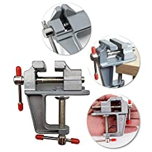 CAIDU Mini Table Vices,3.5 In Aluminum MiniAture Small Jewelers Hobby Clamp On Table Bench Vise Mini Tool Vice