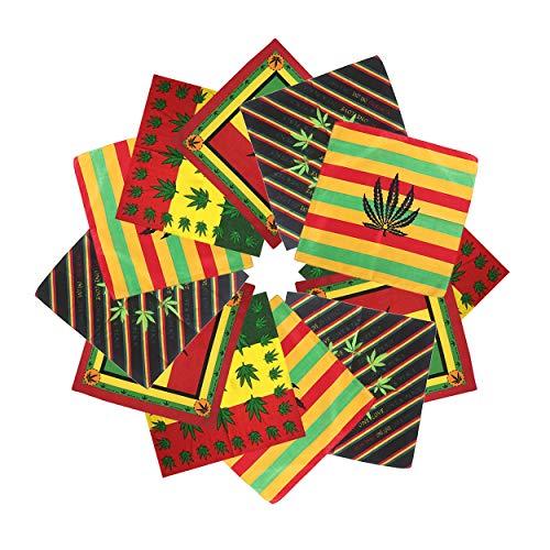 12pcs Bandanas 22 X 22 Inch 100% Cotton Novelty Print Paisley Scarf Headband Handkerchiefs