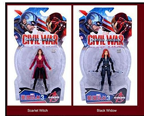 "Children's Toy Marvel Captain America: Civil War 3: Scarlet Witch+Black Widow 7""(18cm) Figures (2 count)"