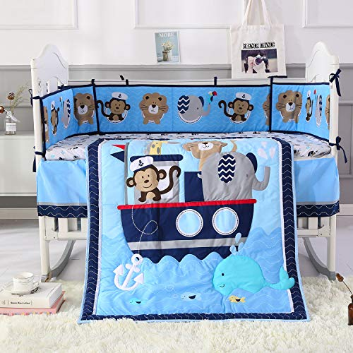 Wowelife Animal Baby Crib Sets Blue 7 Piece Monkey Elephant Lion and Giraffe Crib Bedding Sets Cotton with Bumpers(Sea Journey-7 Piece)