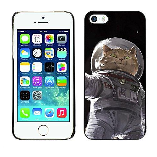 Cosmonaut Astronaut Kitten Cat Space - Aluminum Metal&Hard Plastic Back Case Cover - Black - Apple iPhone 5 / iPhone 5S (Speck Iphone 5c Case Space compare prices)