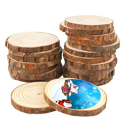 25Pcs 3.0-3.5inch Unfinished Natural Wood Slices Crafts Circles with Tree Bark Log Discs Great for Arts and DIY Craft Rustic Wedding Decorations - Tree Natural Wood