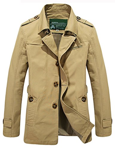 Tanming Men's Classic Lapel Single Breasted Long Sleeves Jacket Trench Coat (Large, Khaki)