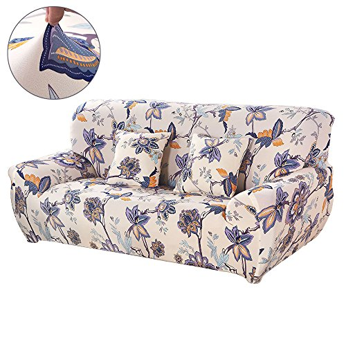 bric Sofa Slipcovers Flower Series Removable Stretch Elastic Couch Protector Covers for Living Room Bedroom (Loveseat, Corn Poppy) ()