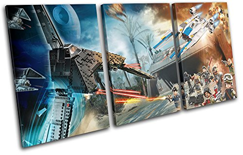 Bold Bloc Design - Lego Star Wars Rogue One For Kids Room 90x45cm TREBLE Canvas Art Print Box Framed Picture Wall Hanging - Hand Made In The UK - Framed And Ready To Hang