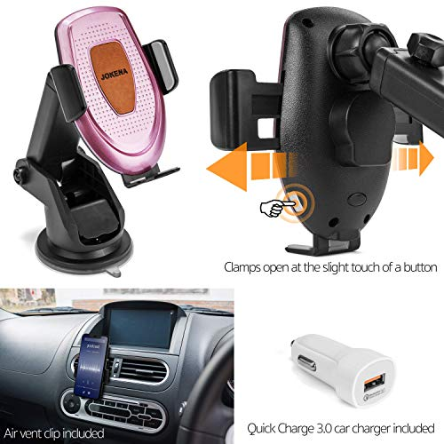 JOKENA Wireless Car Charger Mount- Automatic Clamping 10W Qi Fast Charging Car Wireless Charger Mount Air Vent-Dash-Windshield-Cell Phone Holder for iPhone 11 11Pro 11Pro Max X 8 8 -Samsung S10 S9 S8