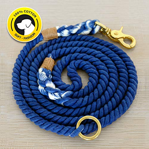 Braided Leash - FAYOGOO Dog Leash Cotton Rope Dog Leash, Durable Handmade Braided Dog Leash, Extra Soft Cotton Rope Leashes for Pets, 5-Feet Cotton Dog Lead for Small and Medium Dogs (Navy-Blue)