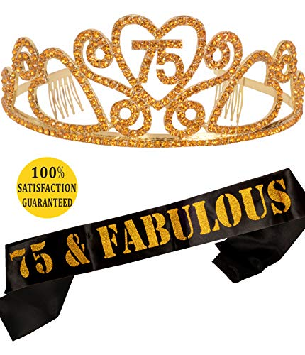 MEANT2TOBE 75th Birthday Tiara and Sash, Happy 75th Birthday Party Supplies, 75 & Fabulous Black Glitter Satin Sash and Crystal Tiara Birthday Crown for 75th Birthday Party Supplies and Decorations ()