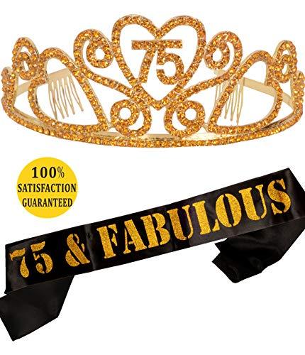 MEANT2TOBE 75th Birthday Tiara And Sash Happy Party Supplies 75 Fabulous
