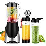 3 in 1 Personal Blender Vacuum for Smoothies Shakes, Powerful 300W(24,000RMP) 6 Sharp Blades, Small Blender Single Serve with 21 oz Glass Jar & Two 20 oz Bottles, Black Review
