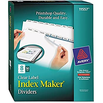 Amazon Avery Index Maker Clear Label Dividers 85 X 11 Inch