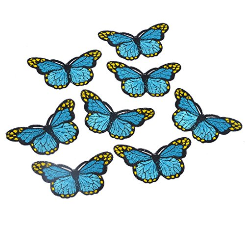 Souarts Blue Butterfly Shaped Embroidered Sew Iron On Applique Patches Pack of 5pcs