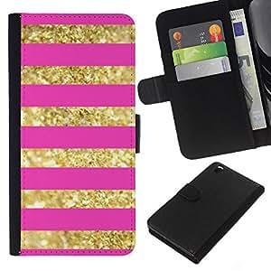 EJOY---La carpeta del tirón la caja de cuero de alta calidad de la PU Caso protector / HTC DESIRE 816 / --líneas de oro rosa bling del patrón